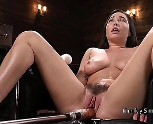 Curved breasty sweetheart fucking machine and squirting