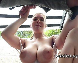 Amateur with natural massive mambos outdoor fucking