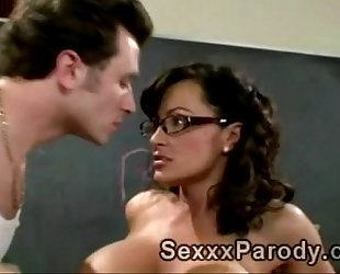 Sexy teacher with glasses sucks off and acquires pumped in xxx parody