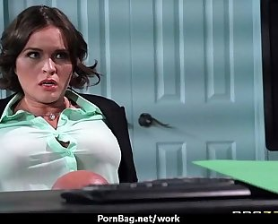 Big-tit latin chick boss bonks employee's hard-dick in office 15