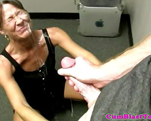 Greyhair granny dilettante gives bukkake cook jerking