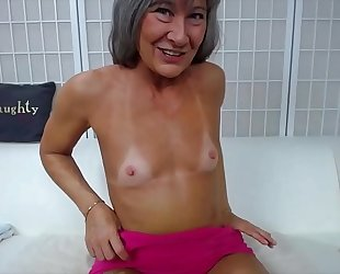Naughty granny leilani with immodest talk copulates creamy twat