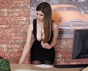 Hot secretary honey bows over to tease her cleavage - large bumpers porn