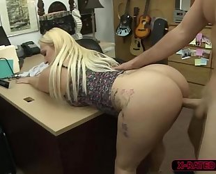 Busty and bulky nina kayy sells a weapon and acquires team-fucked by shawn