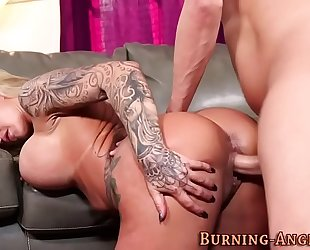 Tattooed milf rides rod