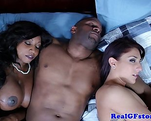 Ebony Married slut and ally cum swapping