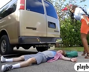 Huge milk sacks ebon milf drilled in the car
