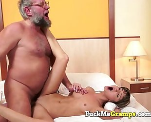 Petite slutty wife screwed by large grandpapa