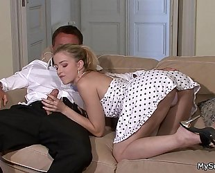 Hot blond rides her bf's daddy pecker