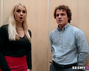 My boss' angry white women sarah vandella bonks me in the elevator