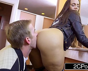 Slutty student mea melone blows her teacher in school water closet