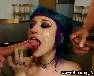 Goth punk dirty slut wife fuck and facial