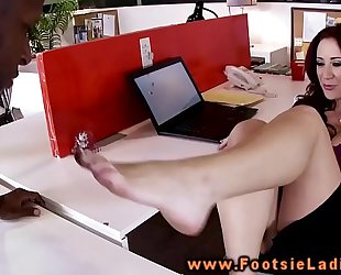 Interracial office feet worshipping and busty mature sucks penis