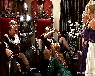 King and queen have a medieval fuckfest with four sexy harlots