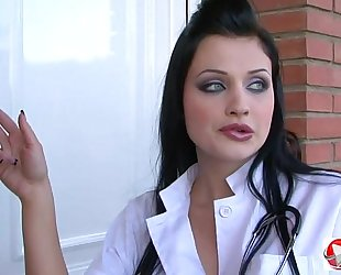 Big meatballs, brunette hair, doctor, doggy position, missionary, piercing, uniform