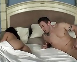 Mom and son sharing bed and cum in her mouth after smoking