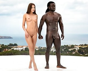 Gorgeous babe gets fucked hard by horny black man