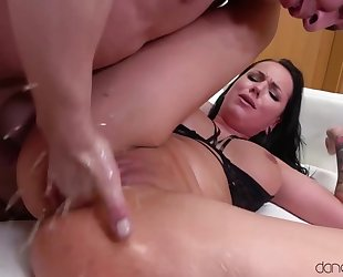 Luscious brunette squirts hard during intense pussy pounding