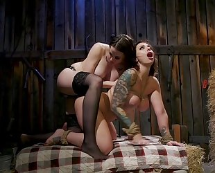 Lesbian mistress in stockings fucks her tattooed slave