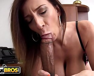 Bangbros - breasty milf sara jay sucks a large dark ramrod like the professional this babe is