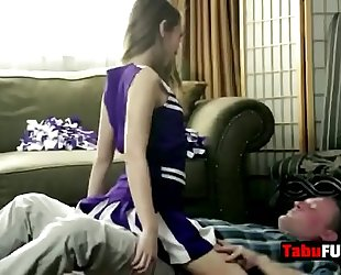 Stepdad rocks breathtaking dark brown cheerleader chick hard